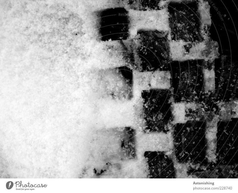 kariert Umwelt Natur Winter Eis Frost Schnee Wege & Pfade kalt grau schwarz weiß Quadrat eckig Kontrast Verlauf Boden Pflastersteine Vogelperspektive
