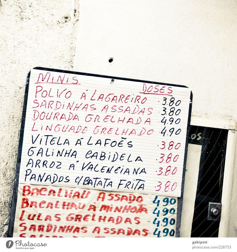 Menüplan weiß rot schwarz Wand Mauer Fassade Schilder & Markierungen Schriftzeichen einzigartig einfach Hinweisschild Zeichen Appetit & Hunger Hinweis Originalität Preisschild