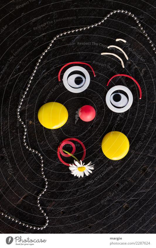 Emotionen...coole Gesichter: trauriger Clown Mensch rot schwarz gelb feminin maskulin androgyn
