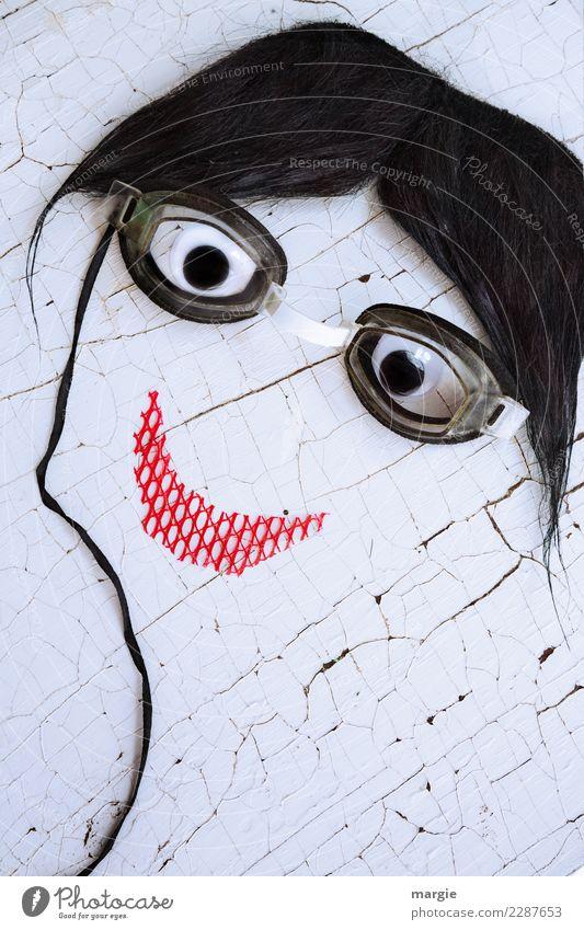 Emotionen...coole Gesichter: Collage Brillenschlange feminin Frau Erwachsene Haare & Frisuren Mund 1 Mensch rot schwarz weiß Freude Glück Zufriedenheit