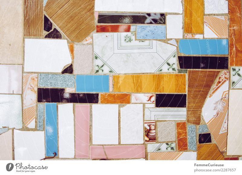 Colorful floor tiles of different shapes and sizes blau rot Stein Bodenbelag Fliesen u. Kacheln Kuba Verschiedenheit
