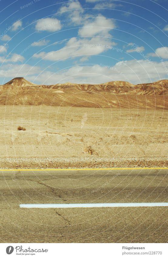 Street home Alabama Himmel Sommer Wolken Einsamkeit Ferne Straße Freiheit Berge u. Gebirge Sand Hügel Wüste Asphalt trocken entdecken Schönes Wetter Teer