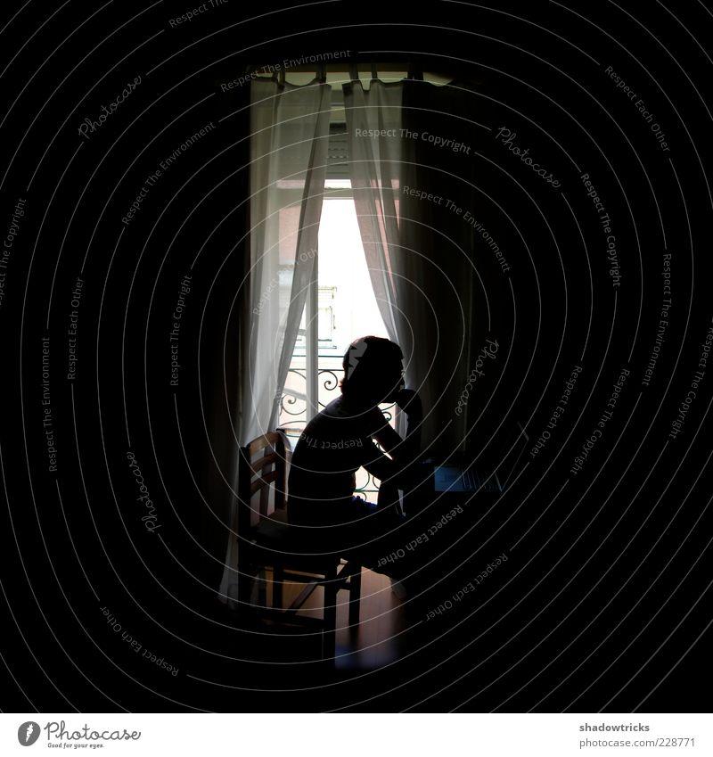 homework Mensch Jugendliche Erwachsene dunkel Computer Arbeit & Erwerbstätigkeit sitzen maskulin Stuhl 18-30 Jahre Notebook Vorhang Gardine Lichteinfall