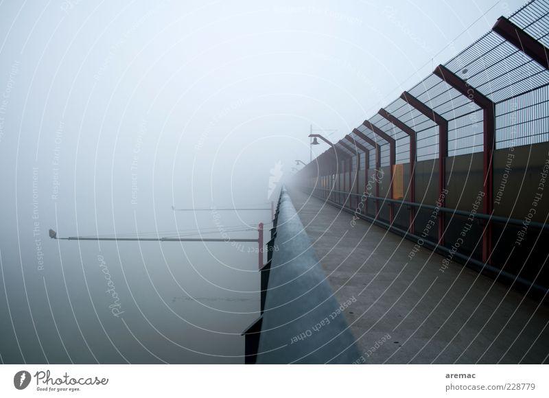 Neckarbrückenblues Winter ruhig dunkel Architektur grau Wege & Pfade Wetter Nebel Brücke Zukunft Fluss Bauwerk Neugier Geländer Zaun Zukunftsangst