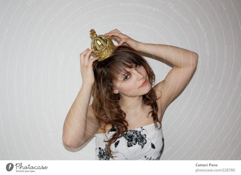 princess me Mensch Jugendliche weiß schön schwarz Gesicht gelb feminin Haare & Frisuren Junge Frau Kopf festhalten Zeichen Locken brünett langhaarig