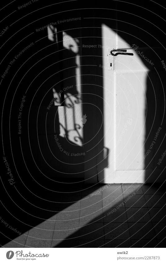 Klinken putzen Haus Tür Raum Flur Vorraum Griff Gitter Schmuck Dekoration & Verzierung Lichteinfall Bodenbelag Fliesen u. Kacheln Stein Holz Metall alt dunkel