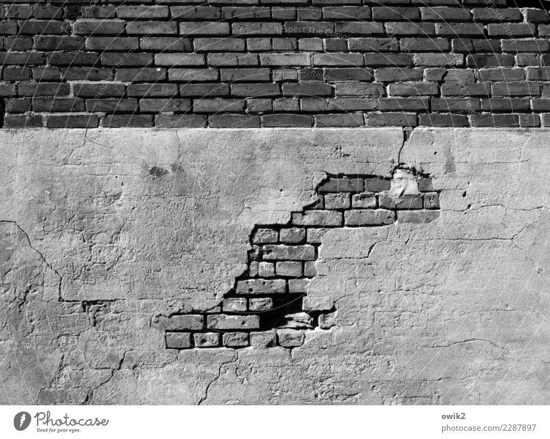 Archäologie Mauer Wand Fassade Putz Putzfassade Backstein Backsteinwand Beton alt trashig Missgeschick Schwäche Verfall Vergänglichkeit Zerstörung Zahn der Zeit