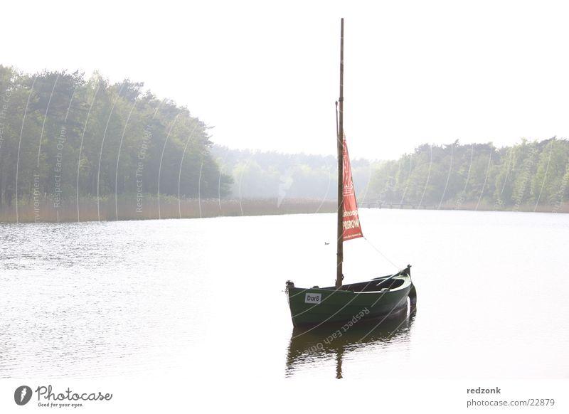 Segelboot Wasserfahrzeug Prerow See Reflexion & Spiegelung Schifffahrt Küste Landschaft Nebel hell Fluss