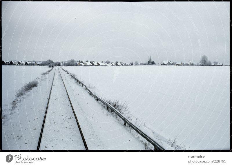 kaltes Ziel Ferne Umwelt Natur Landschaft Winter Schönes Wetter Eis Frost Feld Dorf Schienenverkehr Gleise Schienennetz Originalität Stimmung ästhetisch