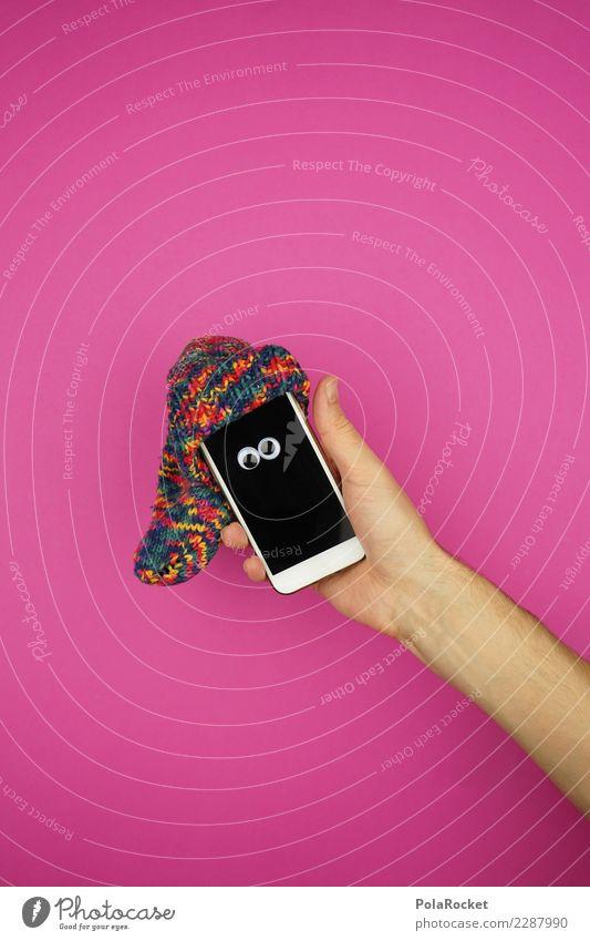 #AS#crazy tech Kunst ästhetisch rosa Handy Mobilität Mobile Mobilfunk Mütze Strümpfe Arme Auge verrückt niedlich Bildschirm Farbfoto mehrfarbig Innenaufnahme