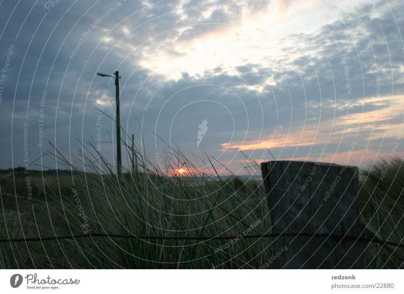Dünen im Abendrot II Sonne Meer Wolken dunkel Wiese Gras Beleuchtung Hügel Zaun Stranddüne Strommast