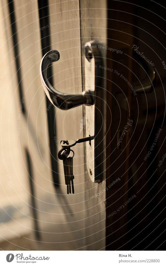 Geheimnisse Schloss Schlüssel dunkel Neugier geheimnisvoll offen Griff Gedeckte Farben Innenaufnahme Schwache Tiefenschärfe Tür Menschenleer glänzend