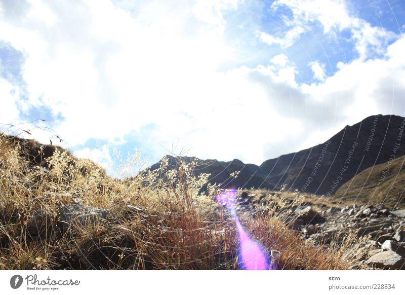 hinter den sieben bergen... Umwelt Natur Landschaft Pflanze Urelemente Erde Himmel Wolken Sonne Sonnenlicht Herbst Schönes Wetter Gras Moos Blatt Blüte