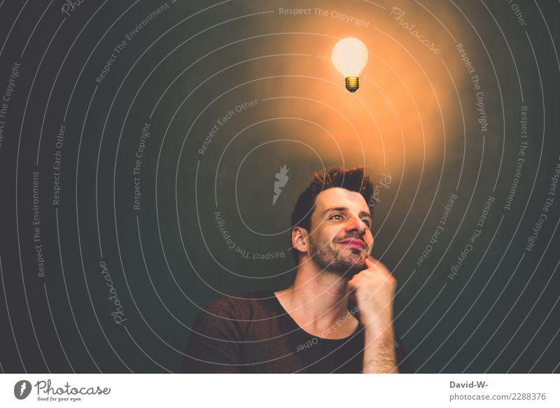 der Einfall Lifestyle elegant Zufriedenheit Bildung Mensch maskulin Junger Mann Jugendliche Erwachsene Leben Kopf 1 Kunst Künstler Denken leuchten Fröhlichkeit