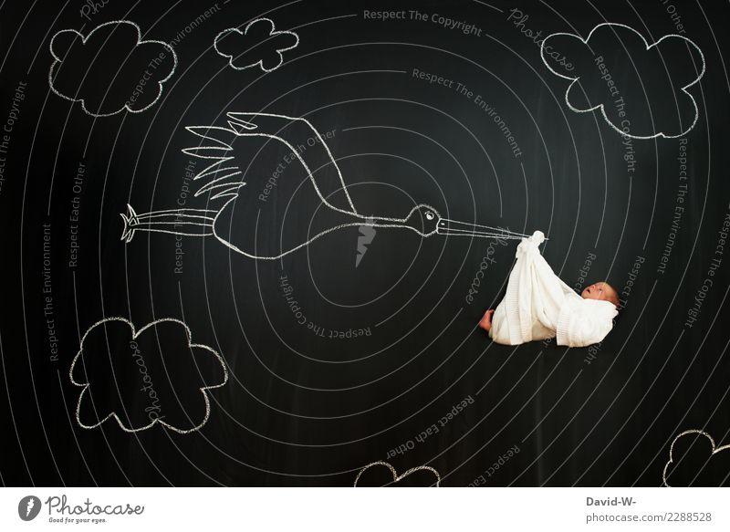 der Babybringer Lifestyle Gesundheit Zufriedenheit Mensch Kind Kindheit Leben 1 0-12 Monate Kunst Künstler Kunstwerk fliegen träumen Zusteller Post Tradition