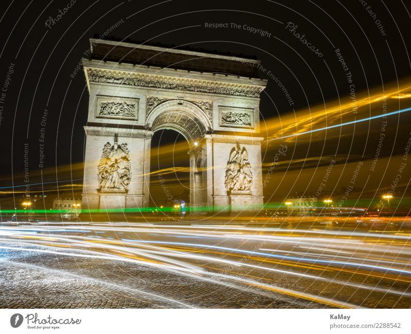 Arc de Triump mit Lichtspuren Stadt dunkel Straße Architektur gelb Tourismus Europa Sehenswürdigkeit Bauwerk Wahrzeichen Frankreich Stadtzentrum Denkmal