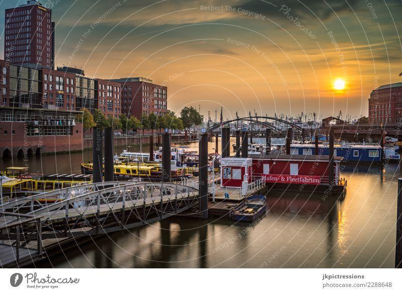 Hamburg Hafen Speicherstadt Sonnenuntergang Europa Deutschland Elbe Stadt Wasser Kanal Industrie Himmel traumhaft schön Alte Speicherstadt Wasserfahrzeug