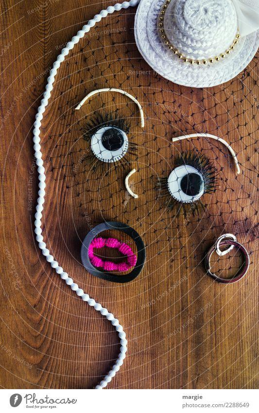 Emotionen...coole Gesichter: Collage feine Dame, Ladylike Mensch feminin Junge Frau Jugendliche Erwachsene Auge Mund 1 Mode Bekleidung Ohrringe Hut Denken braun