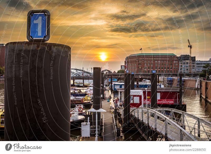 Hamburg Hafen Speicherstadt Sonnenuntergang bewölkt Europa Deutschland Elbe Stadt Wasser Kanal Industrie Himmel traumhaft schön Alte Speicherstadt