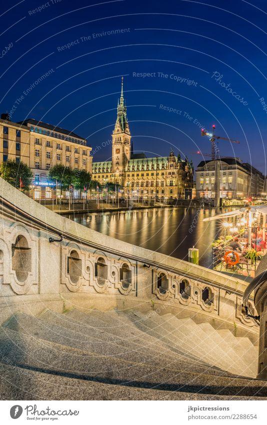 Hamburg kleine Alster Rathaus Alsterarkaden Europa Deutschland Elbe Stadt Hafen Wasser Kanal Sonnenuntergang Himmel traumhaft schön Brücke Steg Wärme