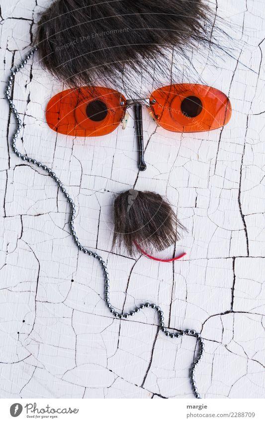 Emotionen...coole Gesichter: Snob Mensch maskulin Auge Mund Bart 1 braun orange weiß Gefühle Hochmut eitel einzigartig skurril Sonnenbrille Brille