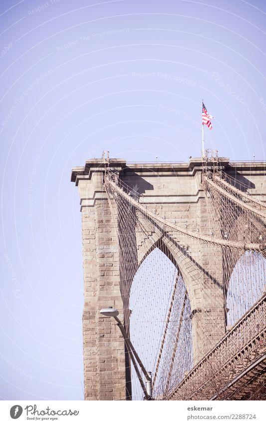 New York City Brooklyn Bridge Ferien & Urlaub & Reisen Tourismus Ferne Freiheit Sightseeing Städtereise Manhattan Amerika USA Stadt Hafenstadt Stadtzentrum