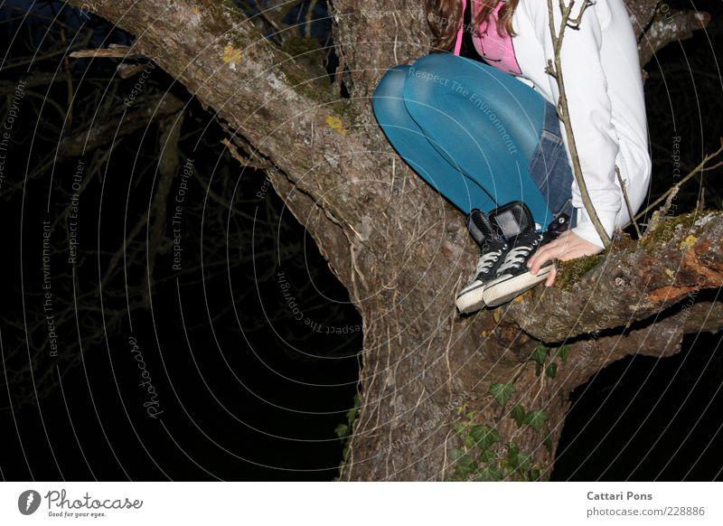 oben Mensch Jugendliche blau Baum Freude dunkel feminin Spielen Holz Junge Frau Beine Schuhe sitzen Freizeit & Hobby Jacke Strumpfhose