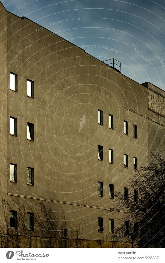Fassade Himmel Haus Fenster Wand Gefühle Architektur grau Gebäude Mauer Fassade Autofenster Hochhaus trist Bauwerk Hauptstadt Zweige u. Äste