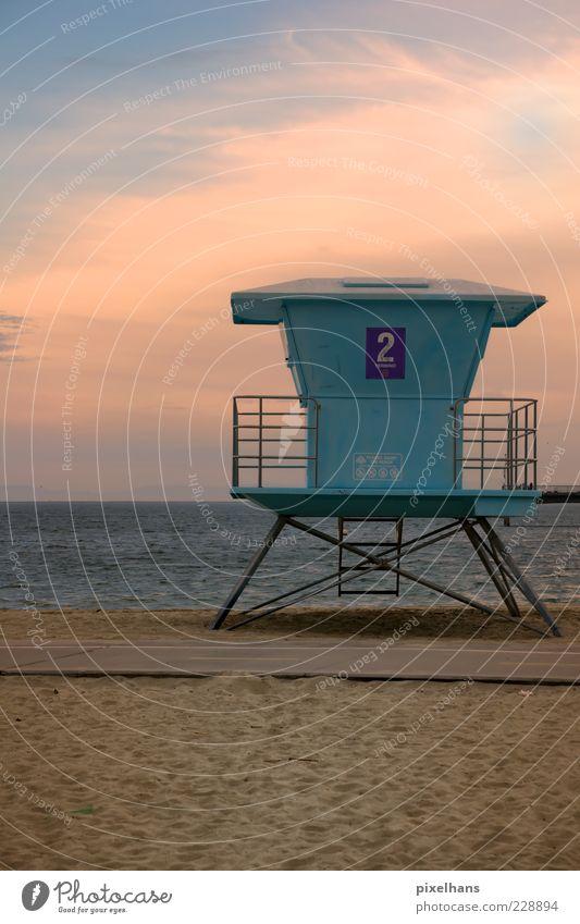 Rettungsturm Sommer Sonne Strand Meer Wellen Landschaft Sand Wasser Himmel Horizont Sonnenaufgang Sonnenuntergang Schönes Wetter Wärme Küste Long Beach