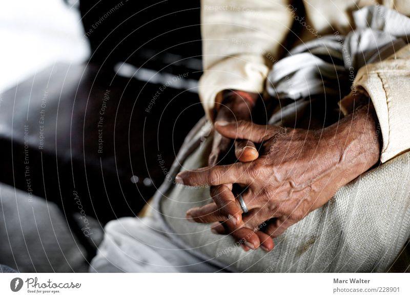 Stille. Mensch Mann Hand ruhig Einsamkeit Erwachsene Gefühle Senior grau Religion & Glaube Denken träumen braun Kraft sitzen natürlich