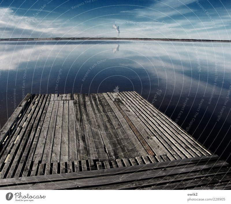 Sprungbrett Himmel Natur blau Wasser Landschaft Wolken ruhig Ferne Strand Umwelt Küste Holz grau See Deutschland Horizont