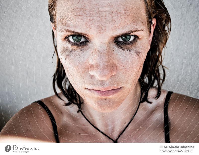 Bonjour Tristesse II Wimperntusche feminin Junge Frau Jugendliche Kopf Haare & Frisuren Auge 1 Mensch 18-30 Jahre Erwachsene brünett kurzhaarig Traurigkeit
