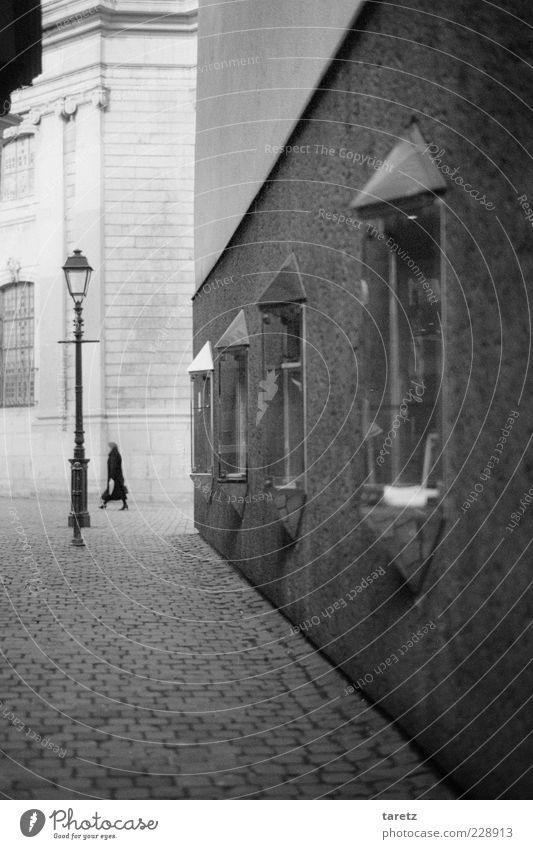 Besuch der alten Dame Mensch alt Einsamkeit Erwachsene Ferne Wand Mauer elegant ästhetisch Spaziergang Sauberkeit Ende Laterne 45-60 Jahre Straßenbeleuchtung Kopfsteinpflaster