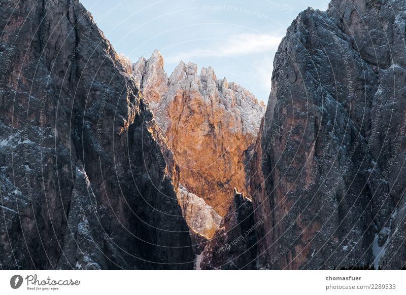 Alpen, Gipfel, wandern Ferien & Urlaub & Reisen Ausflug Abenteuer Ferne Winterurlaub Berge u. Gebirge Klettern Natur Landschaft Himmel Schönes Wetter Schnee