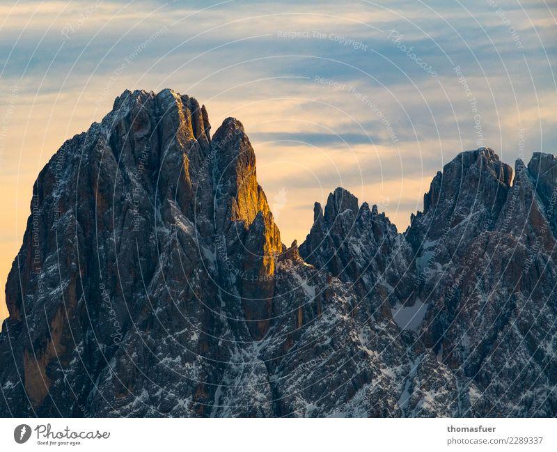 Geisler, Gipfel, Alpen Ferien & Urlaub & Reisen Ferne Expedition Winter Berge u. Gebirge Klettern Schnee Schneebedeckte Gipfel bedrohlich hoch kalt ruhig