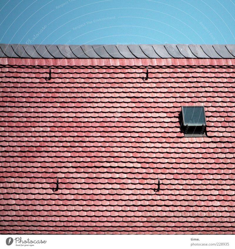 Oberstübchen Himmel Dach rot Schutz Ordnung Dachziegel Ziegeldach Dachfenster Luke Leiterhaken einzeln Farbfoto mehrfarbig Außenaufnahme Muster