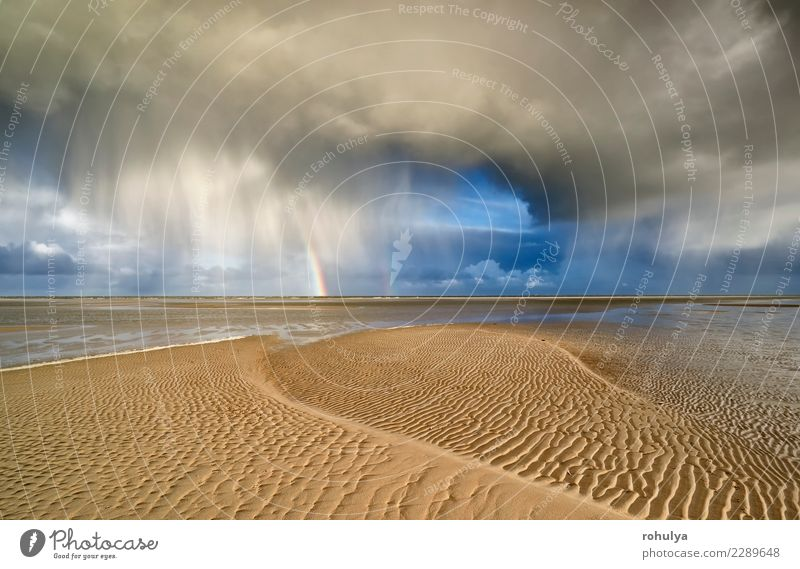 Sturmwolke und -regenbogen auf Sand Nordseestrand Ferien & Urlaub & Reisen Strand Meer Insel Natur Landschaft Himmel Wolken Horizont Wetter Unwetter Regen
