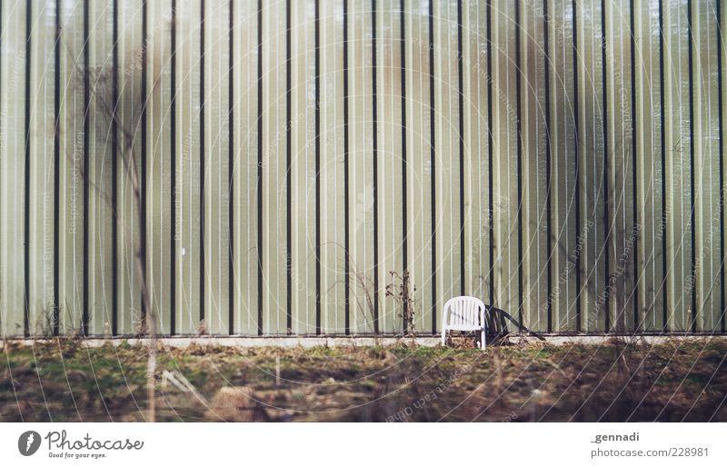 Ein Platz in der Sonne Natur grün ruhig Einsamkeit Umwelt Gras Zufriedenheit Fassade frei leer Stuhl weich analog trashig positiv Sitzgelegenheit