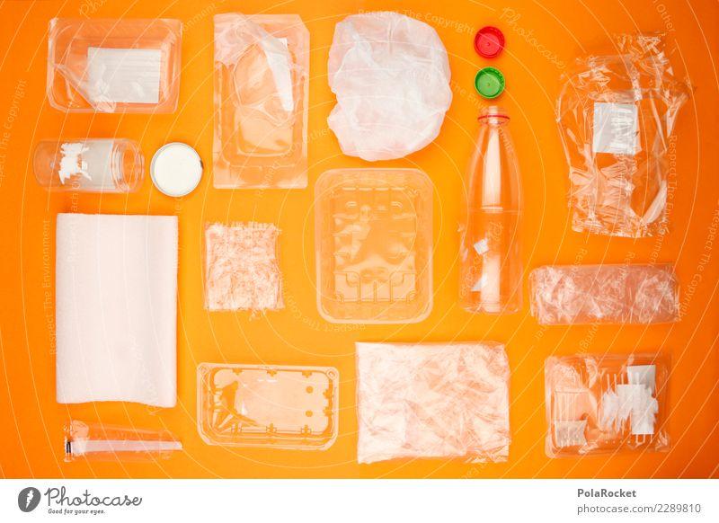 #AS# Plastikmüll Kunst orange kaufen viele Kunststoff nachhaltig Handel Tüte Verpackung Kunstwerk Plastiktüte Rest Recycling Mosaik Konsum überschüssig