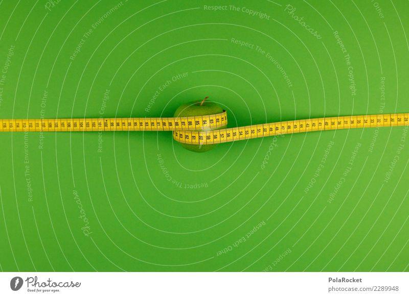 #AS# genormter Apfel Kunst Kunstwerk dünn lecker sportlich ästhetisch Fitness Fitness-Center Kalorie Gesunde Ernährung Gesundheit grün Vitamin gelb Maßband