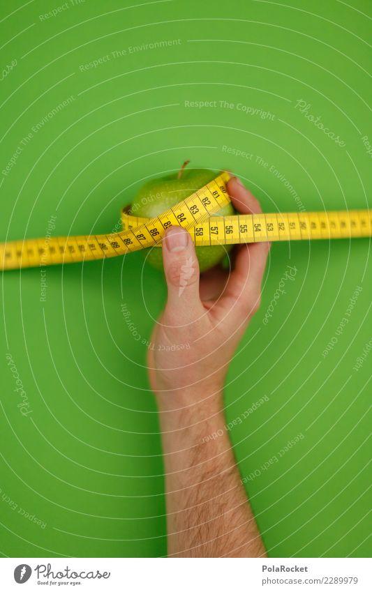 #AS# Gewicht halten Gesunde Ernährung grün Gesundheit Kunst ästhetisch Fitness festhalten sportlich Apfel Diät Kunstwerk messen Kalorie Maßband Fitness-Center