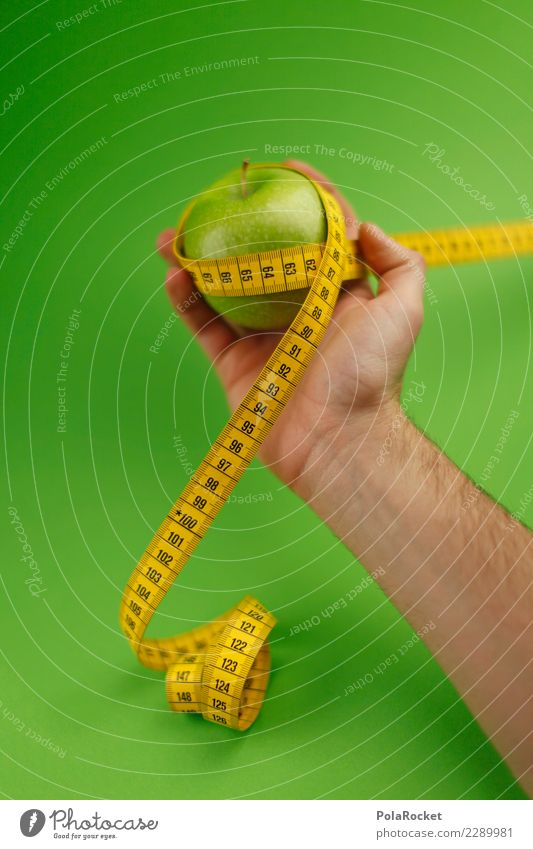 #AS# Fitness Kunst ästhetisch Apfel Apfelernte Apfel der Erkenntnis Gesundheit sportlich Fitness-Center grün Maßband Diät messen Kalorie Gesunde Ernährung