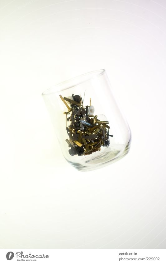 Prost, Photocase weiß Metall hell Glas Metallwaren Stillleben Schraube schrauben