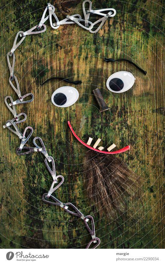 Emotionen...coole Gesichter: Collage Sepp Freizeit & Hobby Mensch maskulin Auge Mund Zähne Bart 1 braun grün rot Kreativität Schraube Kette Holzbrett Baum