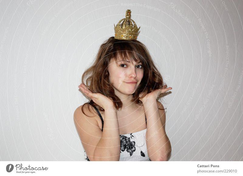 princess Freude Gesicht Mensch feminin Junge Frau Jugendliche Erwachsene 1 Haare & Frisuren brünett langhaarig Locken Lächeln Kitsch lustig verrückt gold Glück