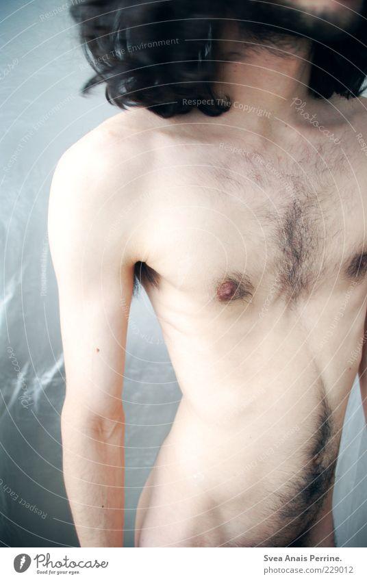 unperfekt.PERFEKT maskulin Körper Haut Brust 1 Mensch 18-30 Jahre Jugendliche Erwachsene Haare & Frisuren brünett langhaarig Locken stehen dünn nackt natürlich