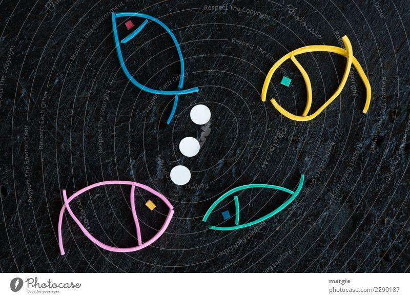 Gummiwürmer: Collage Fische II Wasser Tier Nutztier 4 füttern Schwimmen & Baden mehrfarbig schwarz weiß Freude Lebensfreude Leichtigkeit Luftblase Sprechblase