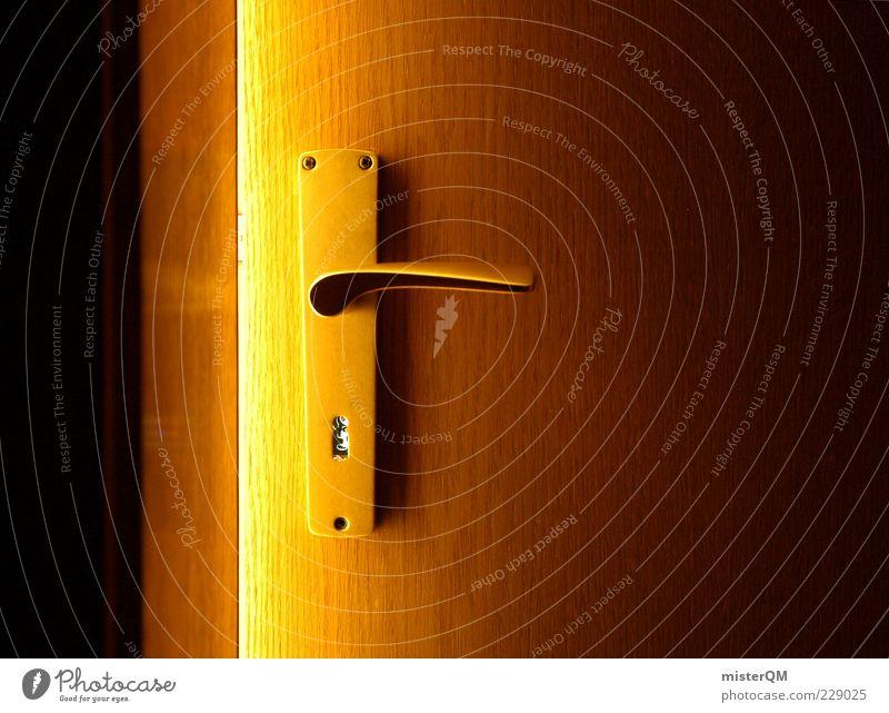 The Secret. dunkel Holz Tür gold geschlossen ästhetisch Neugier Symbole & Metaphern geheimnisvoll Eingang Schlüssel Griff Spalte verborgen Lichtschein