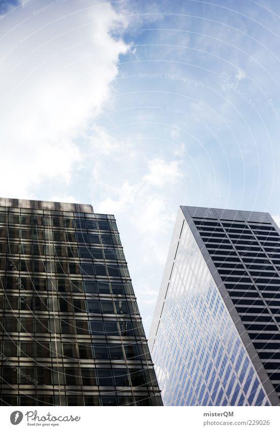 Hoch hinaus. blau Stadt Haus Architektur Gebäude Glas Fassade modern Hochhaus ästhetisch Zukunft Macht USA Bauwerk Bankgebäude
