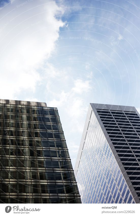 Hoch hinaus. Stadt Hauptstadt Skyline Haus Hochhaus Bankgebäude Bauwerk Gebäude Architektur Fassade ästhetisch Größe Symbole & Metaphern blau New York City USA